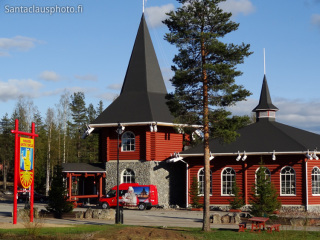 Christmas House in Santa Claus Village at the Arctic Circle in Lapland in summer