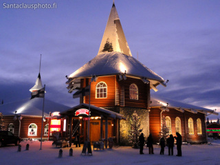 Christmas house during the blue moment in Rovaniemi in Finland