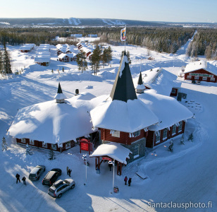Christmas House at the Arctic Circle by air