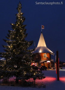 Christmas House and Christmas tree in Santa Claus Village