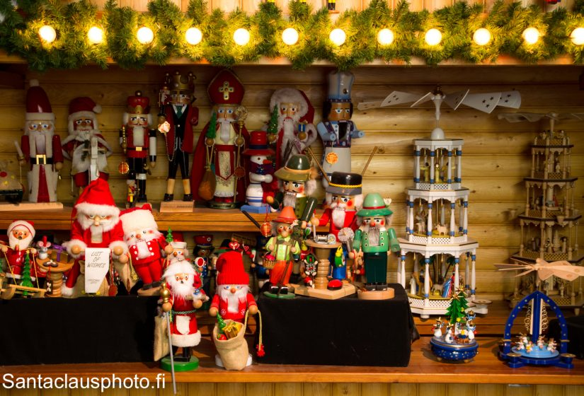 German wooden Christmas decorations at our Christmas exhibition in Santa Claus Holiday Village in Rovaniemi